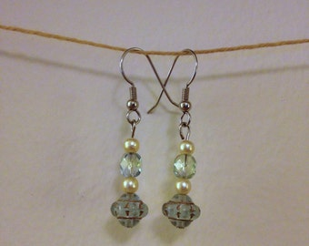 pearl and green glass drop earrings