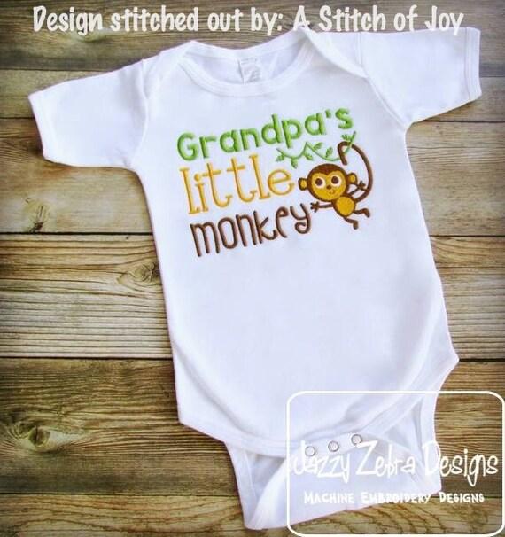 Grandpa's little monkey saying embroidery design - grand pa embroidery design - grandpa embroidery design - monkey embroidery design