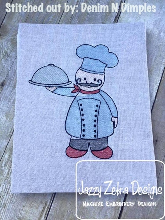 Chef 1 Sketch Embroidery Design - kitchen Sketch Embroidery Design - chef Sketch Embroidery Design