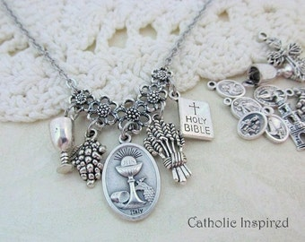 First Communion Choose Charms Holy Eucharist Necklace Miraculous Medal Chalice Wheat Grapes Wine Catholic Blessed Sacrament Stainless Steel
