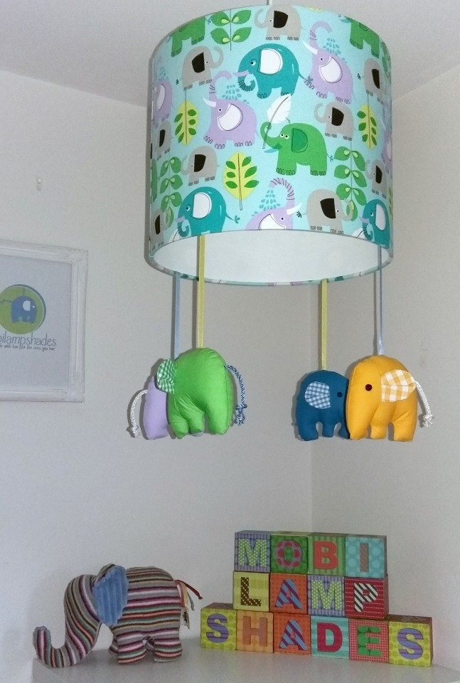 green elephant lamp shade zoo animal nursery by mobilampshades. Black Bedroom Furniture Sets. Home Design Ideas