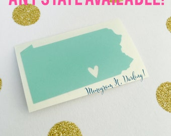 ANY State Decal with Heart over City