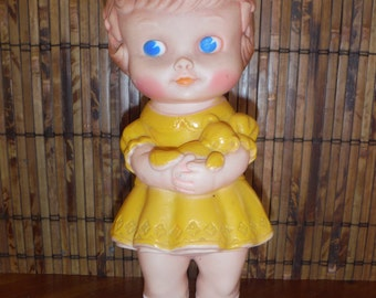 Vintage 1962 Mobley Girl Teddy Bear Squeak Toy - Little Baby Squeaker Toy - Edward Mobley 1962 Squeak Rubber Toy - 1960's Baby Toy