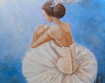 Ballerina wall art, ballet painting, swan lake dancer wall art, Original painting by Nancy Quiaoit