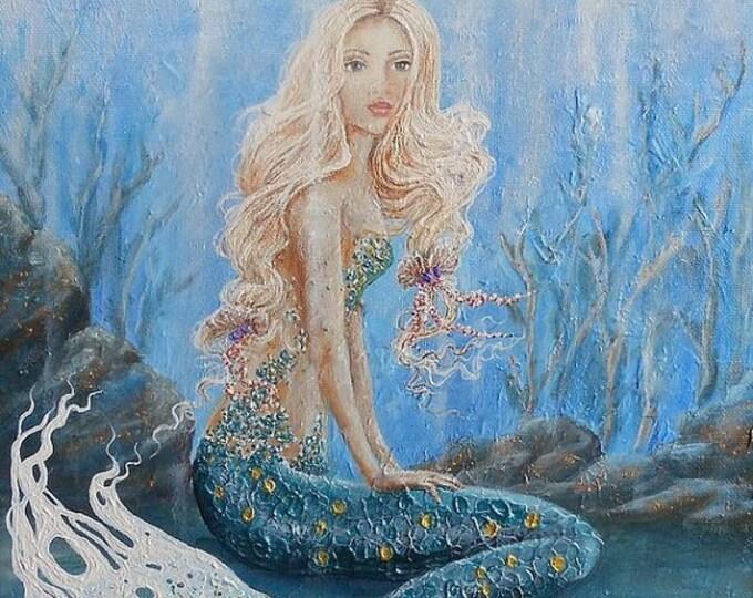 Beautiful blonde mermaid painting, mermaid fine art print on canvas,  unique mermaid art. Original painting by Nancy Quiaoit