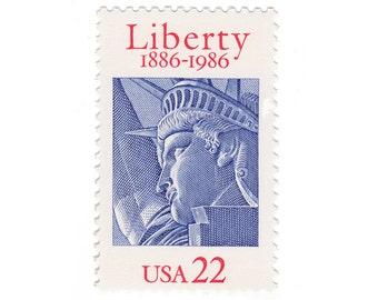 10 Unused Vintage US Postage Stamps - 1986 22c Statue of Liberty - Item No. 2224