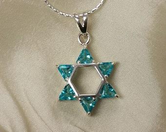 Aqua Star of David Necklace, Sterling Magen David with Aquamarine triangle stones