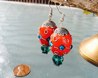 Red and Turquoise Jewel Earrings