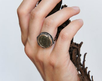 Ancient coin ring, Roman coin ring, sterling silver and gold ring, statement ring, ancient jewelry, antique coin ring, unique ring