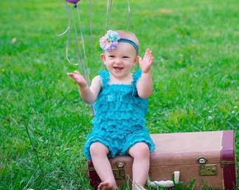 SHIPS NEXT DAY/Teal Lace Petti Romper/Photo Prop/Adorable Birthday Outfit/Cake Smash Outfit/Baby Lace Petti Romper, Teal Lace Petti Romper