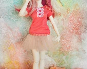 Casual Cute pink Top Minifee Slim MSD