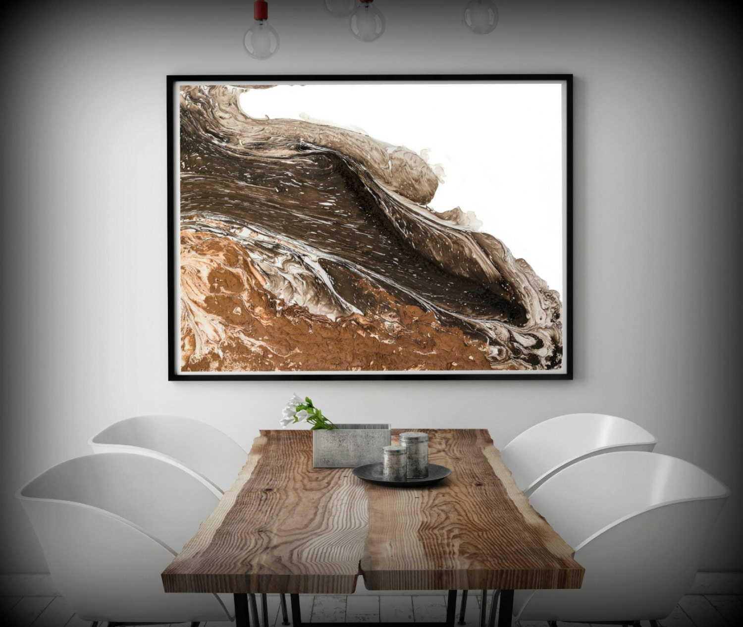 Huge painting print white and brown abstract art print for Large bedroom paintings