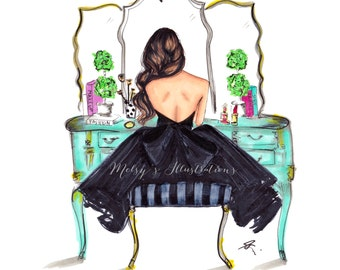 The Turquoise Vanity (Fashion Illustration Print)