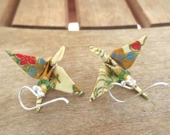 Asian Crane Earring, Asian Earring, Asian Jewelry, Paper Crane Earring, Origami Crane Earring, Handmade Earring, Cute Earring, Gift for Her