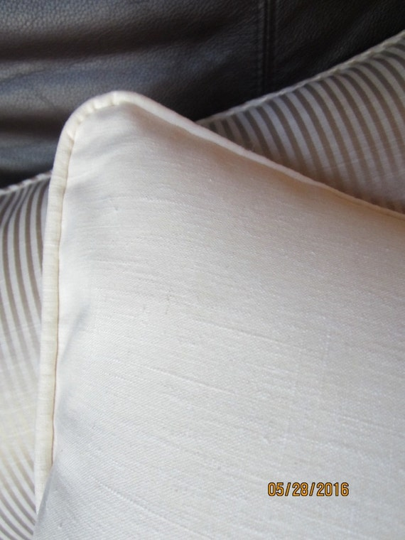 Fresh summer ivory linen throw pillows 16 inches
