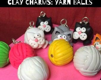 DIY Stitch Markers - POLYMER CLAY charms (1) sheep yarn balls magpie knitting crochet