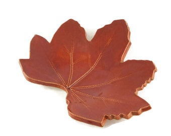 Hollyhock Leaf dish - pottery - ruby red - ring dish - spoon rest - fall leaf - fall decor - jewel tone - red