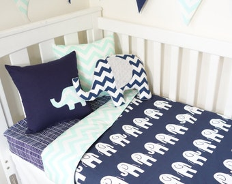 Mint and navy elephant nursery items