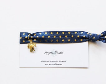 Navy Blue Gold Polka Dots Turtle Hair Tie