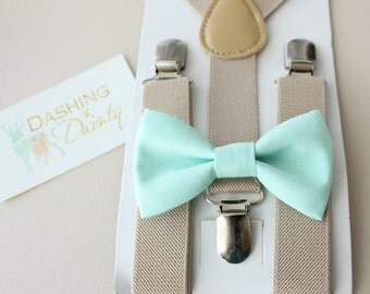 Ring Bearer Outfit, Ring Bearer Gift Bow Tie & Suspenders, Boys Bow Tie and Suspenders, Boys First Birthday Outfit, Mint Bow Tie, Suspenders