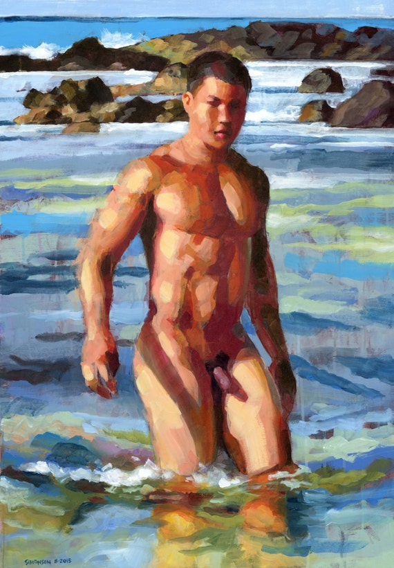 Skinnydipping At Sandys 24X34 Hawaiian Male Nude-8204