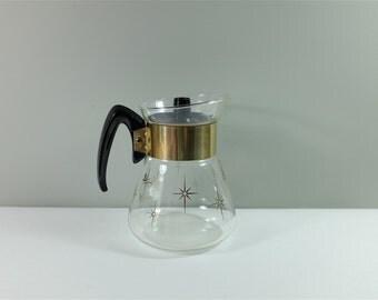 Small Pyrex Carafe, gold sunburst motif - Vintage coffee carafe by Pyrex