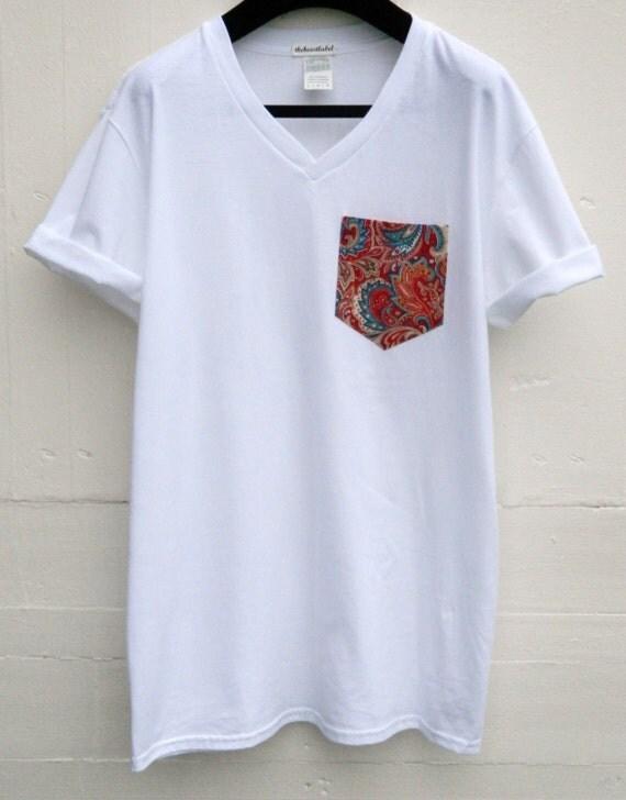 Men 39 s v neck floral pattern white pocket t shirt for Men s v neck pocket tee shirts
