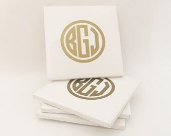 Coasters - Set of 4 Custom Initials Circle Monogram White Ceramic Drink Coasters - Gold