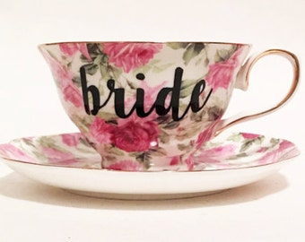 Bride Teacup - Floral Bride Tea Cup Pink, Green, & Yellow Bride Tea Cup and Saucer