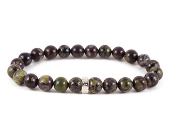 Flower Obsidian Bracelet - Gemstone Beaded Bracelet, Stretch Bracelet, Jewelry Beaded Gemstone Bracelet, Obsidian Jewelry