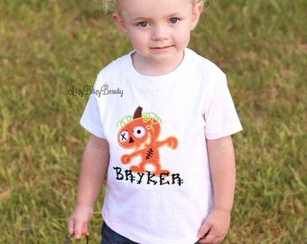 Pumpkin frankestien embroidered boys shirt halloween monster
