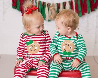 Gingerbread Man Christmas Pajamas, Gingerbread Pajamas, Twins Christmas Pajamas, Twin Pajamas, Family Christmas Pajamas, Christmas Romper