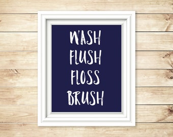 Navy and White Wash Flush Floss Brush Bathroom Sign