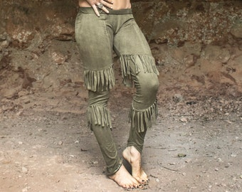 Chimwemwe Legging - Suede-lycra native american inspiration leggings with fringes and copper color rivets decoration