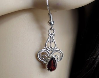 Romantic Garnet Earrings, Red Garnet Silver Earrings, Gemstone Earrings, Garnet Jewelry, January Birthstone, Gift