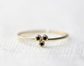 14k gold, rose gold, white gold, black diamond trio ring, dainty diamond ring, solitaire ring, stacking ring, dal-r102-1.5mm (bdia)