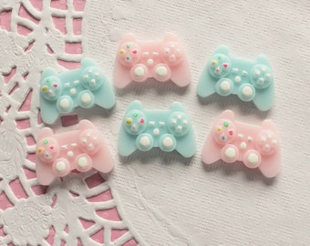 6 Pcs Pink and Blue Pastel Video Game Controller Cabochons - 30x20mm