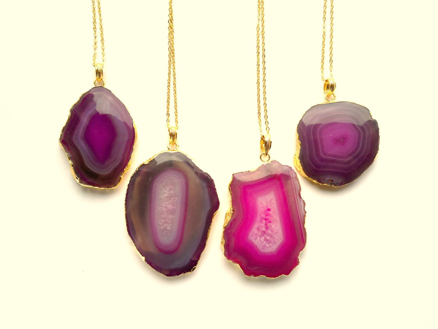 pink agate slice necklace agate pendant geode necklace pink