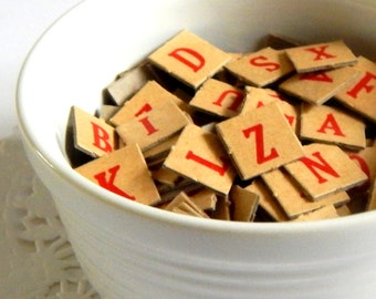 Vintage Anagrams. Letter Tiles. Red Letters. Embellishment. Scrapbook Ephemera. Journal Supply. Vintage Alphabet. Scrabble Letters.