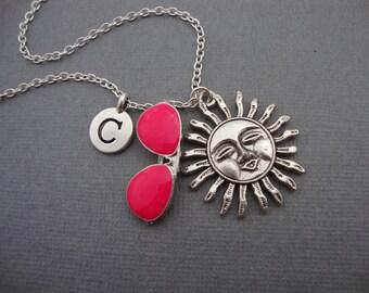 Summer Sun Necklace, Pink Aviator Sunglasses and Sunshine Keychain, Sunglasses and Sun Adjustable Bangle Bracelet, Pink Sunglasses Keyring