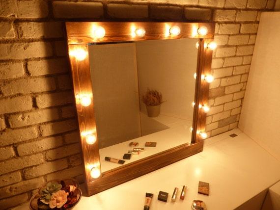 Miroir hollywood avec miroir de maquillage miroir rustique for Miroir rustique