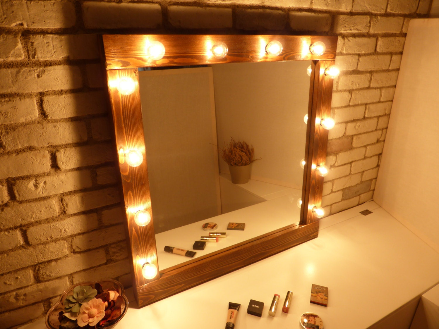 Rustic Vanity Mirror With Lights : Hollywood mirror with lights rustic mirror makeup mirror
