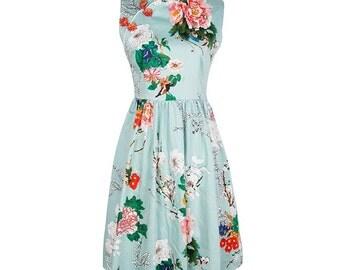 Cheongsam dress, Chinese dress, Qipao dress, Oriental dress, Wiggle dress, Blue dress, Midi dress, Invitation dress, Floral dress MS68