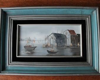 Signed Sailboats Original Mid Century Oil Painting by Ann Amatore Medium oil on Canvas mid century aqua blue wooden frame