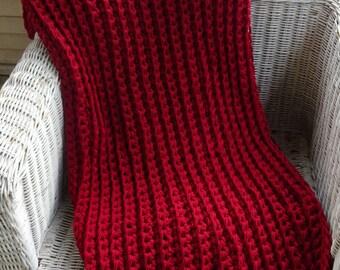CROCHET BLANKET THROW, Red chunky rib crochet blanket
