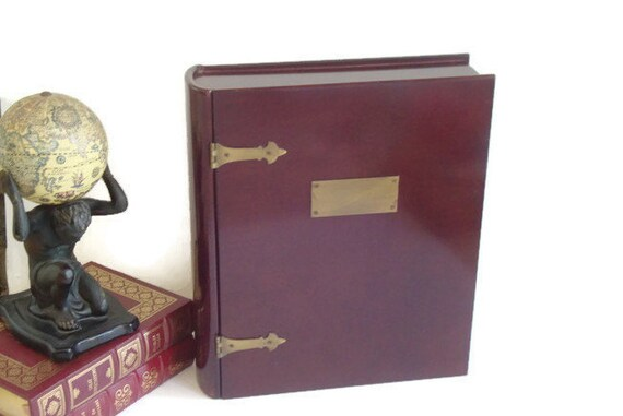 Decorative Boxes Shaped Like Books : Bombay keepsake box treasure engravable plaque book