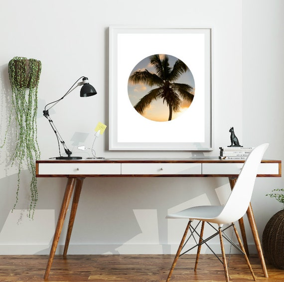 Palm Tree Print, Palm Tree Art, California Print, Palm Tree photography, Circle Wall Art, Sunset Art, Palm Trees Wall Art, Printable