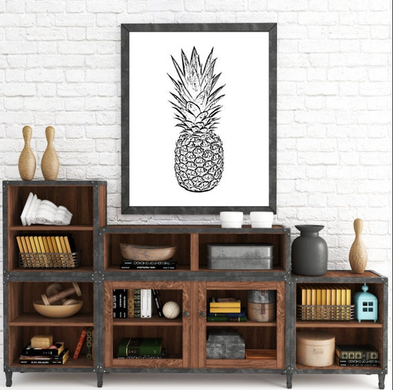 Psych Print, Pineapple Print, Psych Tv Show, Psych, Pineapple, Pineapple Art, Printable Pineapple, Instant download, Black Pineapple, Print
