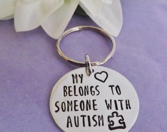 Autism Keyring - Autism Keychain  - Heart Belongs To - Love Autism - Autism Awareness - Hand Stamped Keyring - Hand Stamped Keychain