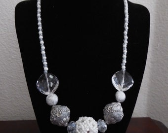 Beaded White and Silver Necklace
